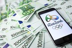 Officiell logo av den 2016 sommar olimpicsen royaltyfri fotografi
