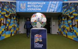 Officiell matchboll av UEFA-nationligan royaltyfri bild