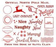 Officiell nordpolen Santa Mail Clip Art Set för feriejul vektor illustrationer