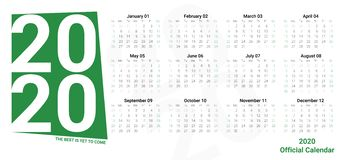 Officiell vektorkalendermall av 2020 i gröna färger och tydliga helger Horisontalmall för kalenderdesignorientering vektor illustrationer