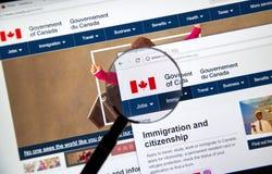 Officiell webbsida av den kanadensiska regeringen arkivbild
