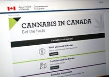 Officiell webbsida på regering av den Kanada platsen om cannabis royaltyfria foton