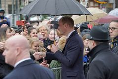 Officiellt besök av hertigen av Cambridge i Finland Arkivbild