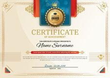 Officiellt certifikat med röda beståndsdelar för turkosfyrkantdesign Rött band- och guldemblem Modernt mellanrum för tappning vektor illustrationer