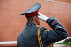 The officier of the Honor Guard of the 154 Preobrazhensky Regiment in the infantry uniform at the solemn event.  Royalty Free Stock Image