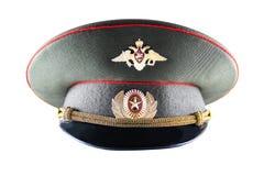 Officier militaire russe Cap d'isolement sur le fond blanc Image stock