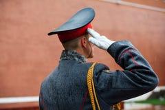 officier 154 Preobrazhensky军团的仪仗队在步兵制服的在庄严的事件 免版税库存图片