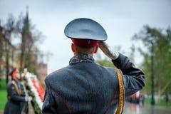 officier 154 Preobrazhensky军团的仪仗队在步兵制服的 免版税库存照片