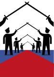 Officiers militaires en position de Saber Arch pour la marche de accueil Clipart (images graphiques) éditorial Photo stock
