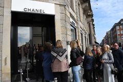 OFFICIL OPENING OF CHANEL BOUTIUE IN COPENHAGEN. Copenhagen/Denmark 18 April 2018_French chain Chanel opens its first shop ever in Copenhagen first consumer wih stock photos