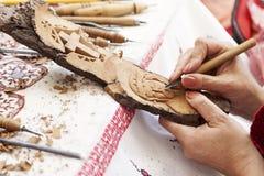 Officina per le sculture del legno Fotografia Stock