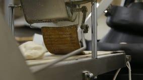 Officina per pane bollente Pianta per la produzione di pane Cottura calda del pane nel forno Un forno enorme del pane panettieri stock footage