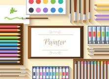 Officina piana del pittore di arte con i rifornimenti della pittura Immagini Stock Libere da Diritti