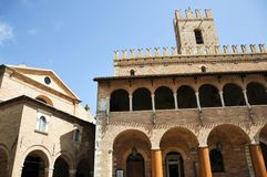 Offida medieval town in central Italy. Church of Our Lady of Sorrows and Town Hall in the historic center of the medieval town of Offida in the Province of stock photography