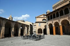 Offida medieval town in central Italy. Church of Our Lady of Sorrows and Town Hall in the historic center of the medieval town of Offida in the Province of royalty free stock photography