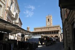 Offida medieval town in central Italy. Piazza del Popolo Popolo square in the historic center of the medieval town of Offida in the Province of Ascoli Piceno royalty free stock images