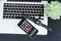 Offise desktop with Apple watch Stock Photography