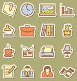 Offise icons. Stickers with minimalistic offise icons set Stock Photo