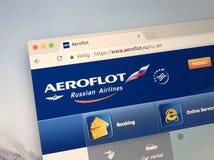 Offizielle Website von Aeroflot - russische Fluglinien Stockfotos