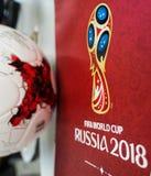 Offizieller Ball der Fußball-Weltmeisterschaft 2018 Stockbild