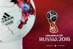 Offizieller Ball der Fußball-Weltmeisterschaft 2018 Stockfotos