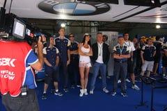 Offizielles laufendes Team WSBK BMWs S1000-RR Stockbild