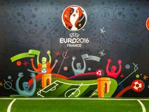 Offizielles Logo der UEFA-Europameisterschaft 2016 in Frankreich Lizenzfreies Stockfoto