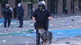 Offizier K9 mit Gasmaske am Aufstand - HD 1080p stock footage