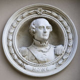 Offizier Richard Howe Medallion Bust in Greenwich Lizenzfreie Stockfotos