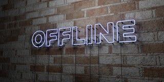 OFFLINE - Gloeiend Neonteken op metselwerkmuur - 3D teruggegeven royalty vrije voorraadillustratie Stock Fotografie