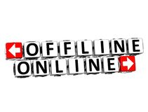 Offline klickar online-knappen 3D här kvartertext Royaltyfri Foto