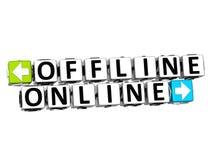 Offline klickar online-knappen 3D här kvartertext Arkivbilder