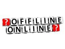 Offline klickar online-knappen 3D här kvartertext Royaltyfria Foton