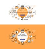 Offline Marketing. Flat color line hero images and hero banners Royalty Free Stock Photos