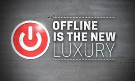 Offline Is The New Luxury on Concrete Wall Concept Background stock photos
