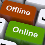 Offline Online Keys Show Internet Communication Status Royalty Free Stock Image