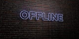 OFFLINE - Realistisch Neonteken op Bakstenen muurachtergrond - 3D teruggegeven royalty vrij voorraadbeeld Royalty-vrije Stock Foto