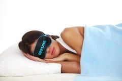 Offline sleeping woman Royalty Free Stock Photography