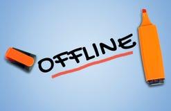 Offline word. On blue background Stock Photo