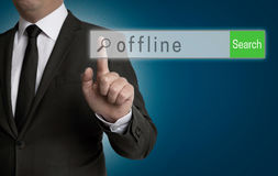 Offlineinternet-Browser wird vom Geschäftsmann bearbeitet Stockfotografie