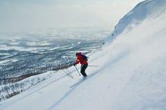 Offpist Skifahren Stockbild