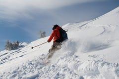 Offpiste skidåkning Arkivfoton