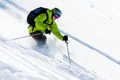 Offpiste skiing Royalty Free Stock Photo