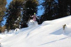 Offpiste skiing Royalty Free Stock Photo