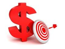 Offra il simbolo rosso del dollaro con l'obiettivo e la freccia Fotografia Stock Libera da Diritti