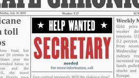 Offre d'emploi de secrétaire illustration libre de droits