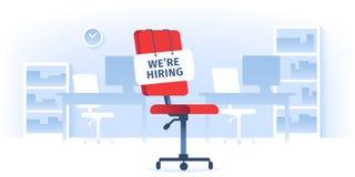 Offre d'emploi Nous louons le signe à la chaise fonctionnante vide dans le bureau vide Travailleurs recrutant l'illustration d'is illustration libre de droits