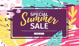 Offre de bannière d'été de Web de conception de calibre Insecte d'été pour l'offre de saison sur le fond abstrait de brosse avec  illustration stock