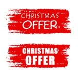 Offre de Noël sur les bannières dessinées rouges Photos libres de droits