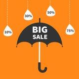 Offre de saison de mousson Parapluie noir Ligne accrochante de tiret pleuvant des baisses illustration libre de droits